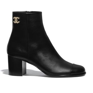 Chanel Calfskin Ankle Boots Black